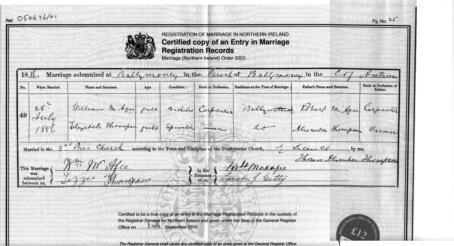 Searching the ireland civil registration indexes on the old lds click here to see the official marriage certificate for the above marriage which i obtained from groni belfast by phone birth aiddatafo Images